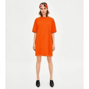 ZARA Trafulac S/S18 Orange Shirt Dress